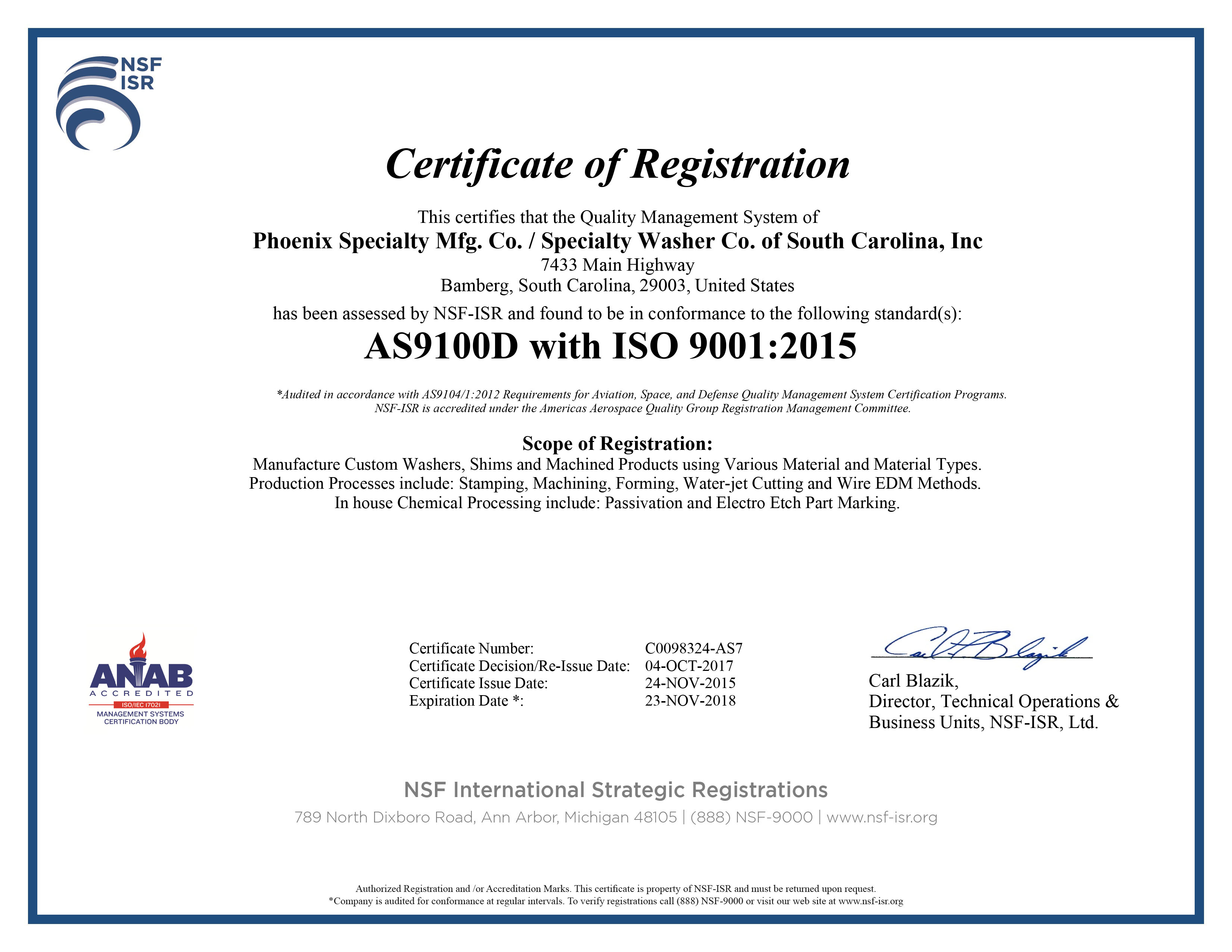 2017 Certifications Correct AS9100 Rev. D and ISO9001 Rev. 2015